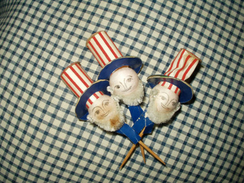 3 Vintage 1950 Uncle Sam Toothpick Patriotic Lot Spun Cotton Head Marked Japan