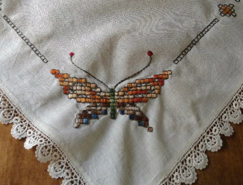 Colorful Vintage Tablecloth Embroidery Butterfly Novelty Lace Edging