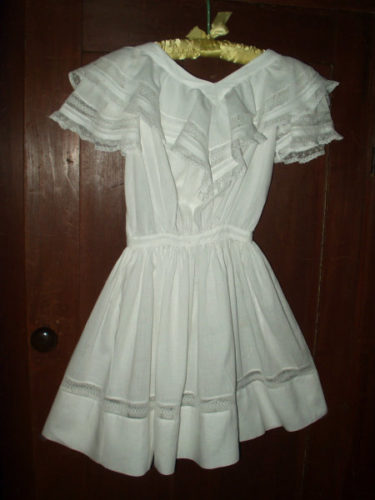 Victorian 1900 Batiste Children Dress Ruffle Collar Lace Inset
