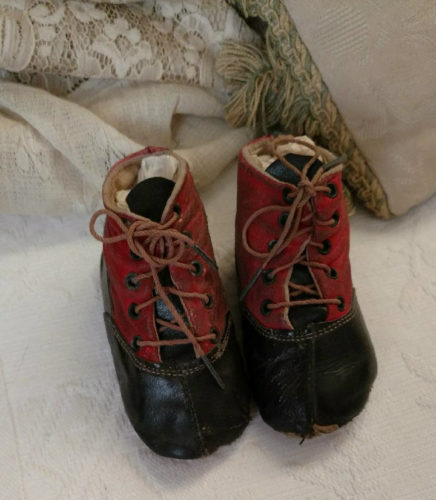 Victorian Red Black Baby Shoes High Top Leather Shoe String Ties