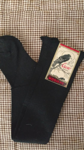 Vintage 1920s Long Black Children Stocking Hosiery Crow Brand Label