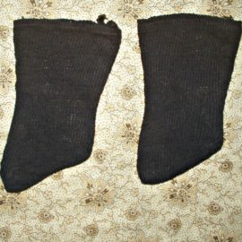 Country Primitive 1900 Old Navy Blue Knit Stockings For Cloth Doll