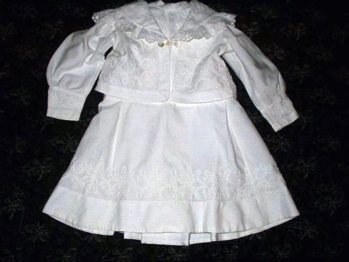 Antique Victorian 1800s Child's 2 Piece Dress Tambour Trim Embellishment