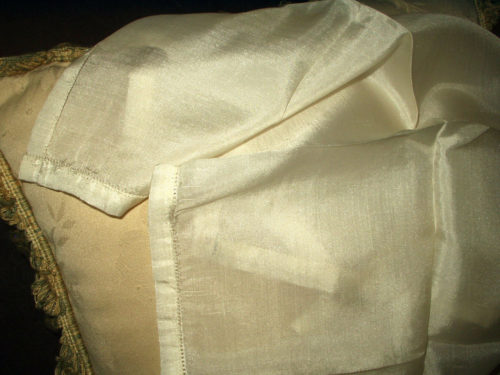 Victorian Edwardian Cream Silk Handkerchief Hankie Unused With Label