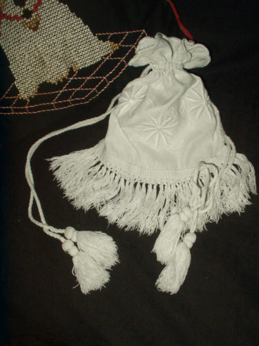 Edwardian Hand Embroidery White on White Edwardian Drawstring Purse Bag Monogram M