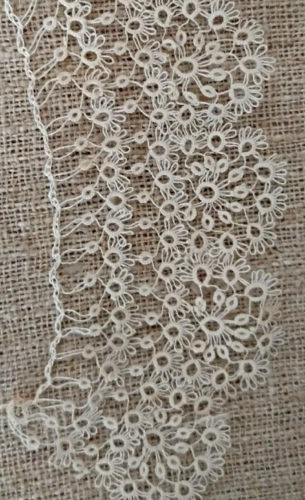 Antique Hand Tatted Lace Collar Fine Tatting 19th Century Victorian