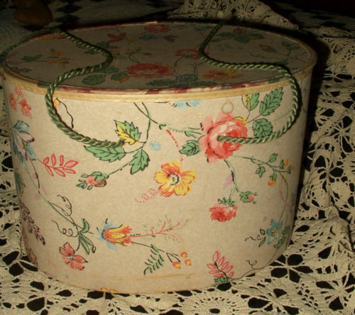 Vintage 1950 Oval Sewing Box Floral Paper Covered Cardboard