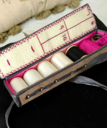 Edwardian Sewing Case Coffin Shape Thread Tools Leather Ribbon