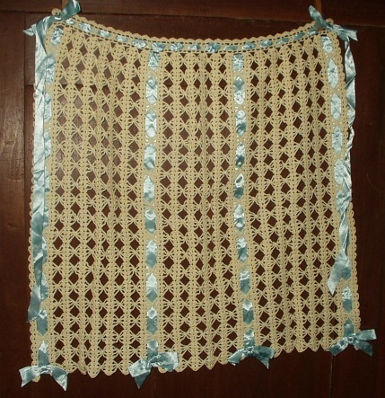 Hand Crochet 1920s Vintage Apron Embellished With Ribbon
