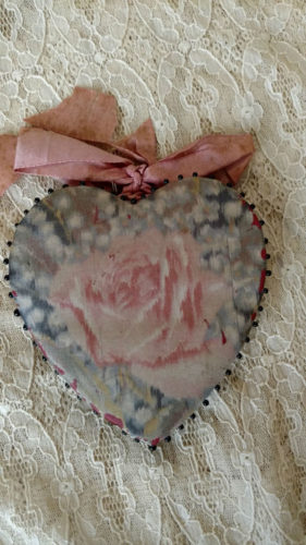 Victorian Pin Keep Sterling Bodkins Sewing Case Rose Silk Fabric