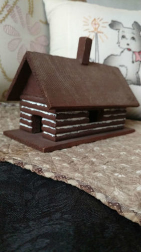 Vintage Miniature Putz Wooden Log Cabin Christmas Scene House