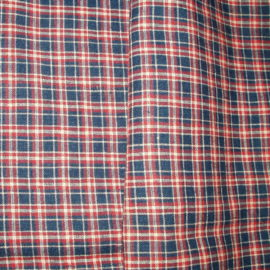 Authentic 1900 Red Blue Homespun Fabric Remnant Primitive Home Table Cloth