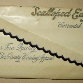 Vintage Early 1900 Unused White Blue Scallop Edging Novelty Braid Trim