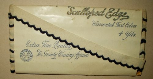 Vintage Early 1900 Unused White Blue Scallop Edging Novelty Braid Trim