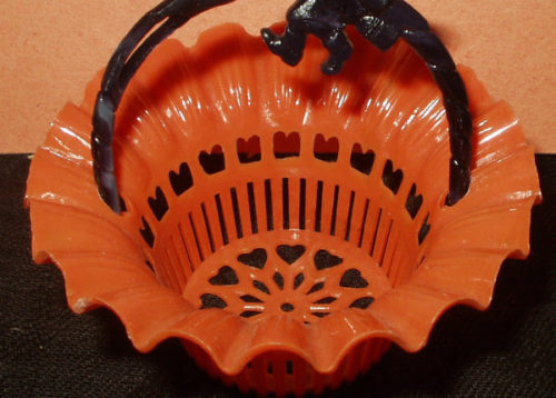 Halloween Vintage Old 1950s Nut Cup Black Orange Plastic Witch Handle
