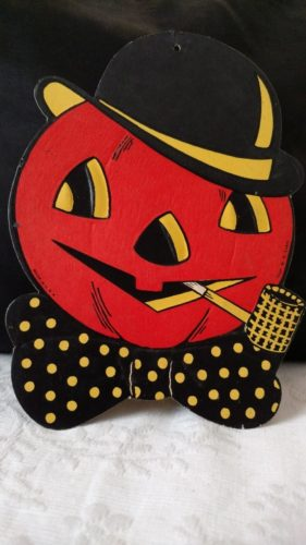 Diecut Halloween Pumpkin With Pipe Vintage 1950s Luhrs