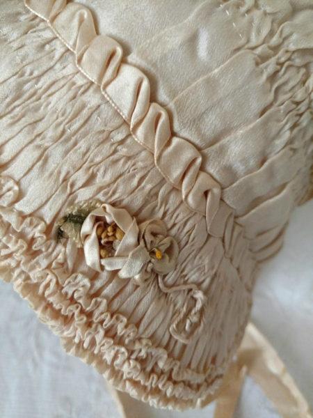 1920's Silk Baby Children Bonnet Ruching Shirring Ribbonwork Sweet Old Fashion