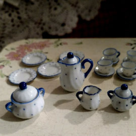 Antique Victorian Doll House Dishes Miniature Toy Tea Set Blue White China