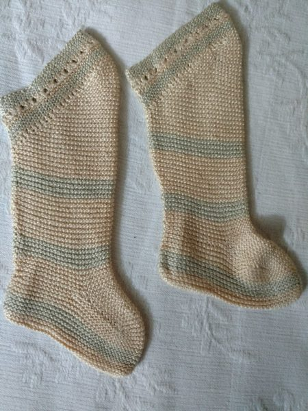 Vintage Silk Hand Knitted Baby Stockings Cream Blue Thread Old 1920s 1930s Hosiery