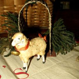 Vintage Wooden Stick Leg Putz Sheep Woolly Coat Ribbon Neck Bell
