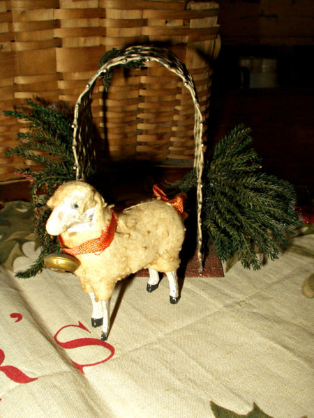 Vintage Wooden Stick Leg Putz Sheep Woolly Coat Ribbon Neck Bell