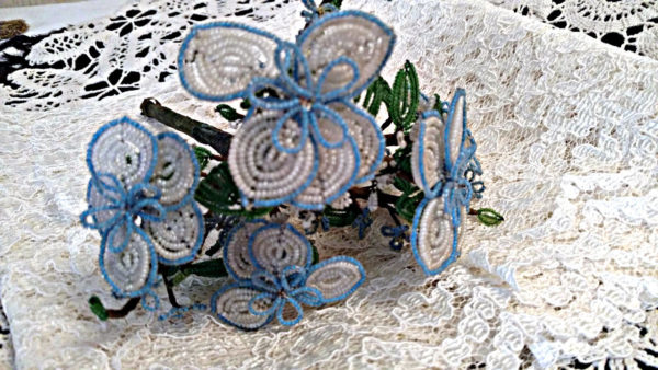 Vintage 1920 1930 Beaded Flower Bouquet Arrangement Blue White Beads