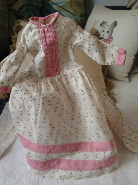 1890s Victorian Doll Dress White Black Calico Fabric Pink Trimming China Buttons