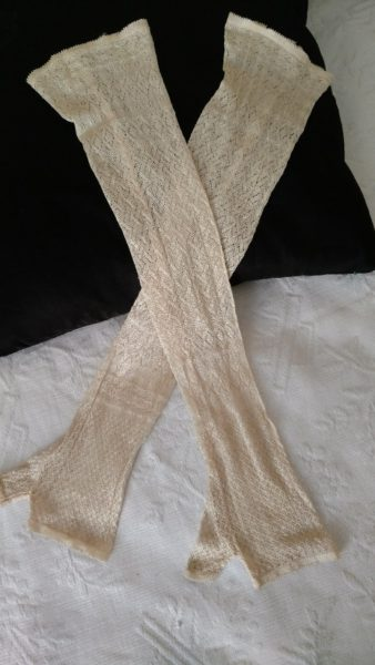 Edwardian Mesh Mitts Gloves Long Silk Rayon Over Elbow Length