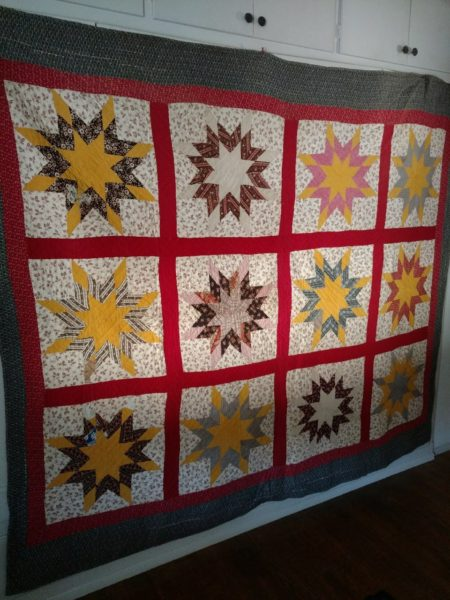 1890s Early 1900s Star Quilt Hand Stitched Quilted Calico Patchwork Piece As Is