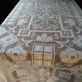 Vintage 1920 Darn Net Lace Lacis Tablecloth Geometric Floral Design