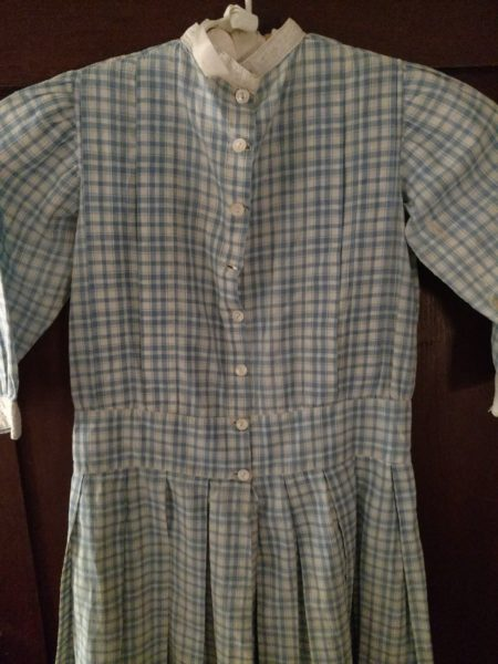 Edwardian Child Dress Blue Check Homespun Antique Whitework Trim