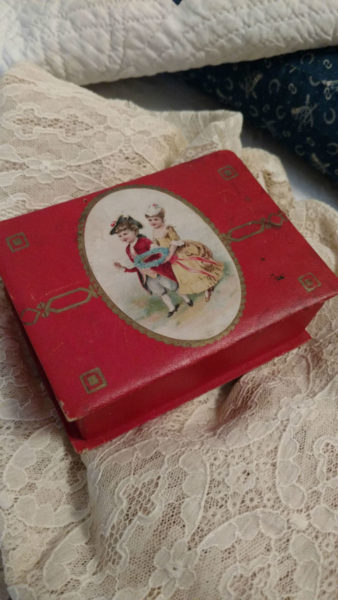 Child Edwardian Cardboard Sewing Box Colonial Couple On Lid Notions Inside
