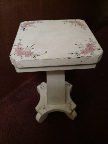 Vintage 1920s Store Prop Wooden Hat Stand Display Table Painted Flowers
