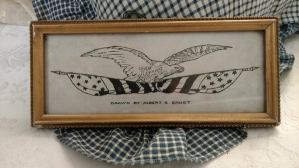 Antique Pen Ink Signed Eagle American Flag Drawing Gold Frame