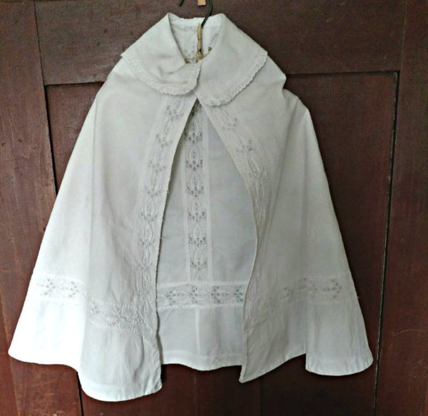Antique Victorian Infant Baby Christening Cape Whitework Embroidery Trim