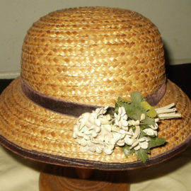 Vintage 1940s 1950s Natural Straw Children's Easter Hat