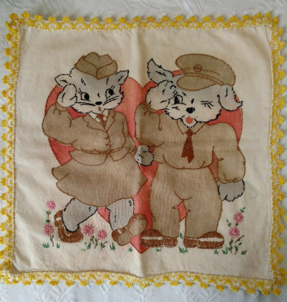 Vintage Embroidery Dog Cat Soldier WWII Pillow Cover Vogart Style