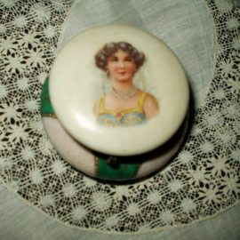 Edwardian 1920s Vanity China Powder Jar Trinket Box Lady On Lid