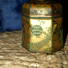 Vintage Signet Peacock Blue Lithograph Tin Glass Ink Bottle Inkwell 1920s Advertising