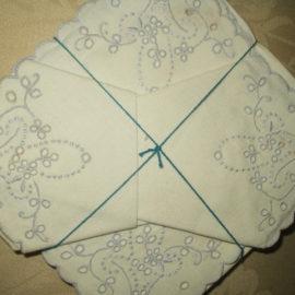 6 Vintage Linen Table Napkins Azores Portugal Embroidery Flower Basket Unused Label
