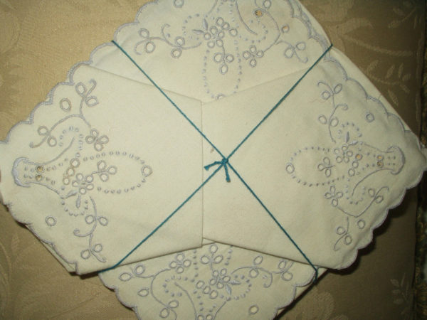6 Vintage Linen Table Napkins Azores Portugal Embroidery Flower Basket Unused Label