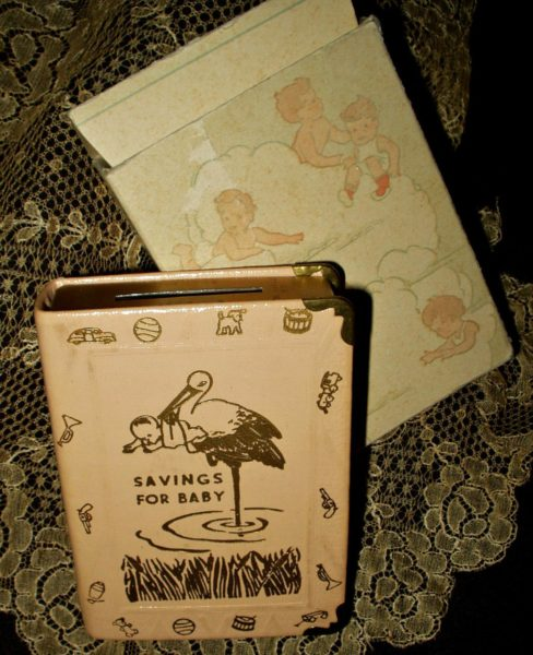 Vintage 1930s Zell Baby Savings Bank Book Key Original Box