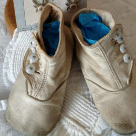 Antique Button High Top Baby Shoes White Leather Vintage 1900s Edwardian