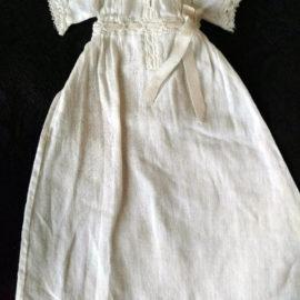 Victorian Baby Doll Infant Long White Cotton Dress Lace Ribbon Trim