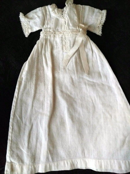 Victorian Baby Doll Infant Long White Cotton Dress Lace Ribbon Trim
