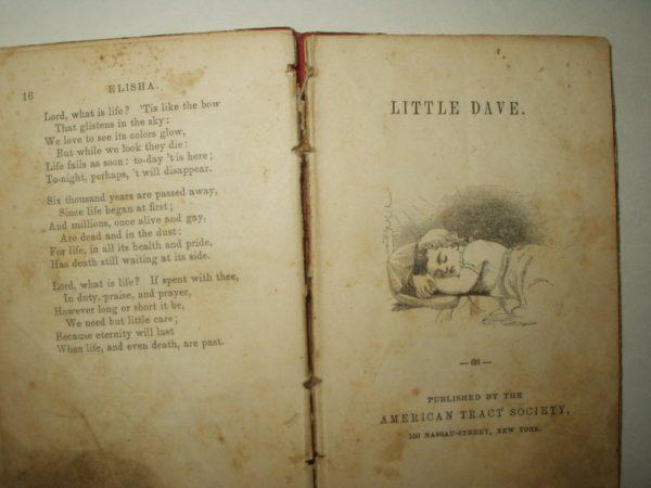 Victorian 1860 Elisha American Tract Society Children Reading Book