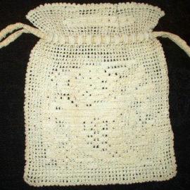 1920 1930 Drawstring Vintage Hand Crochet Fillet Purse Bag