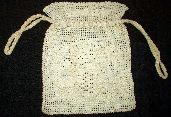 1920 1930 Drawstring Vintage Hand Crochet Fillet Purse Bag