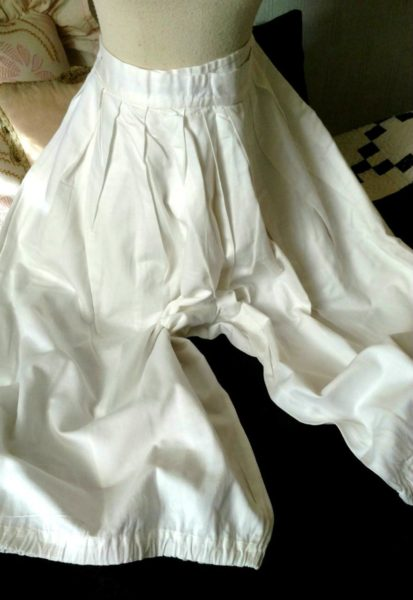 Edwardian WWI Bloomers Vintage Underwear White Polished Cotton