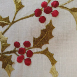 Society Silk Christmas Holly Berry Victorian Embroidery Square Linen Doily Cloth